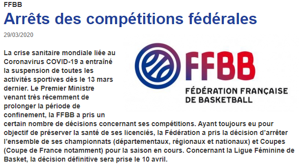 Communiqué FFBB – arrêt des Championnats et Coupes