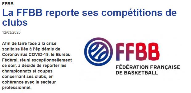 La FFBB reporte ses compétitions de clubs