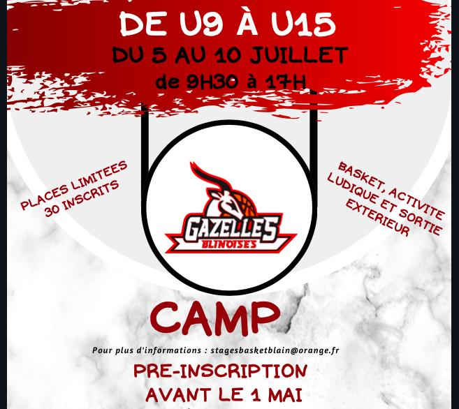 Camp d'été – juillet – U9 U15