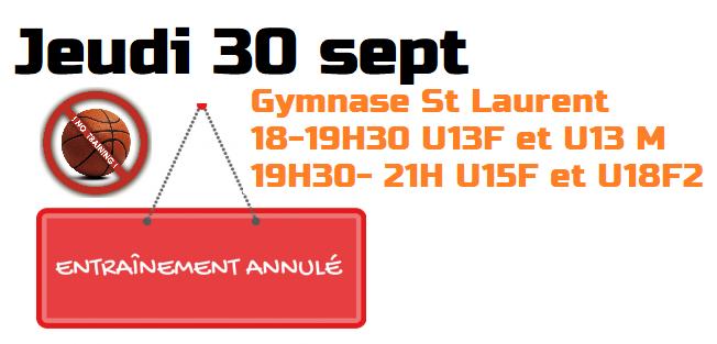 Entraînements annulés le 30 sept – U13F&M, U15F et U18F2
