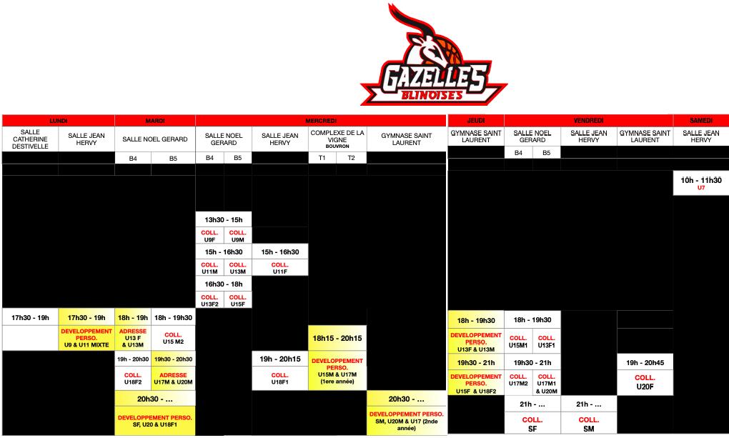 Planning des entraînements – Saison 21-22